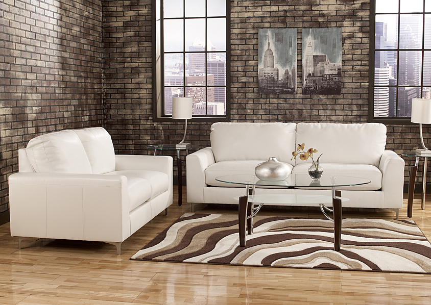 Room sofa signature design by ashley kanoa durablend snow for L fish furniture indianapolis