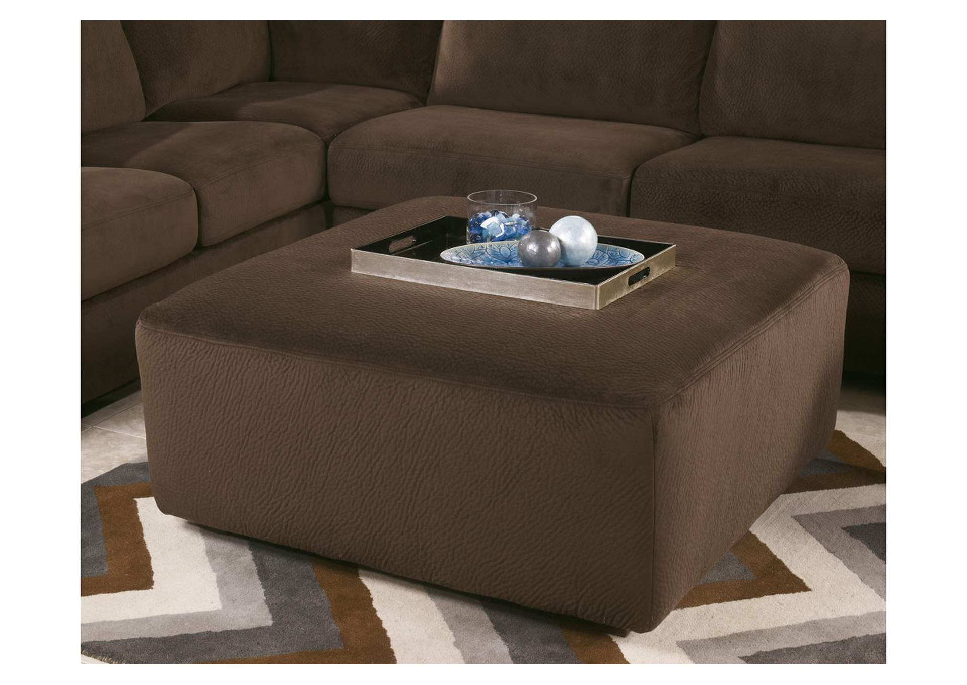 Vista Chocolate Sectional With Oversized Ottoman By Ashley Furniture Bed Mattress Sale