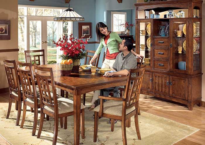 cross island rectangular table w 4 side chairs 2 arm chairs