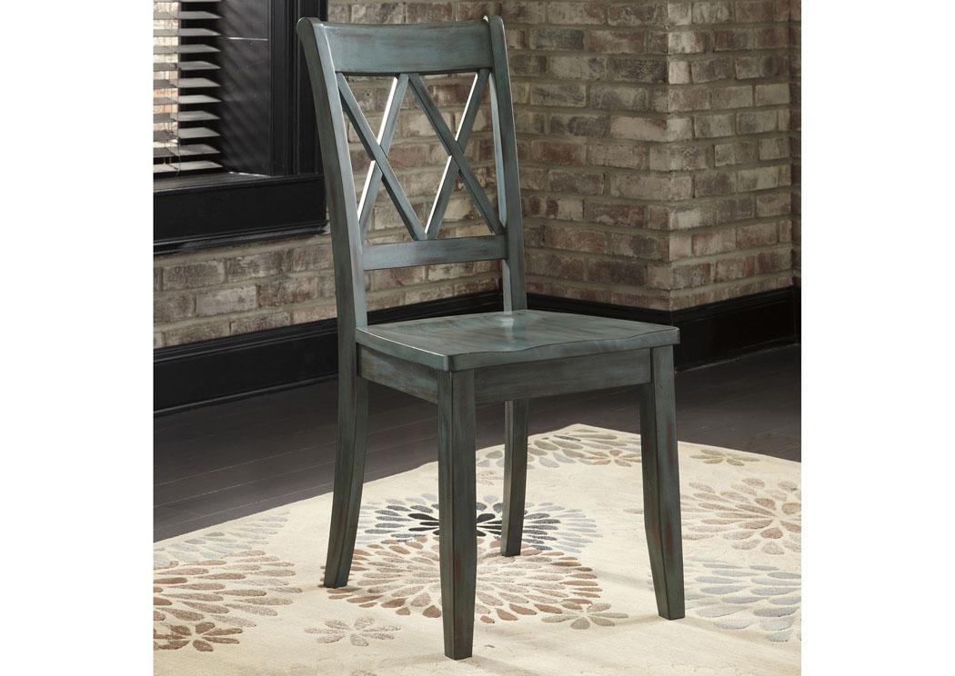 Ramos Furniture Mestler Antique Blue Side Chair Set of 2