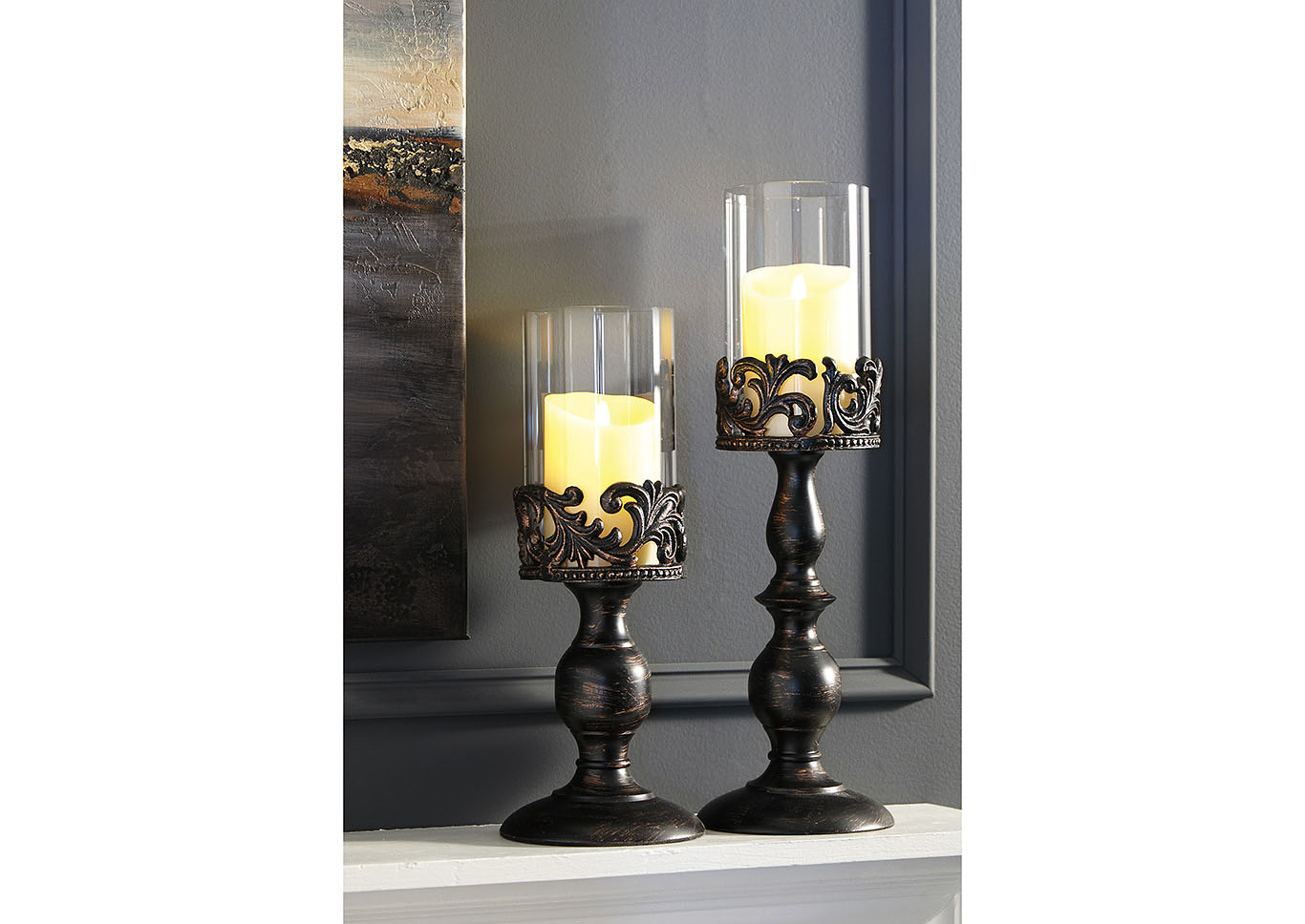 Constance Antique Black Candle Holder Set (Set of 2),Signature Design By Ashley