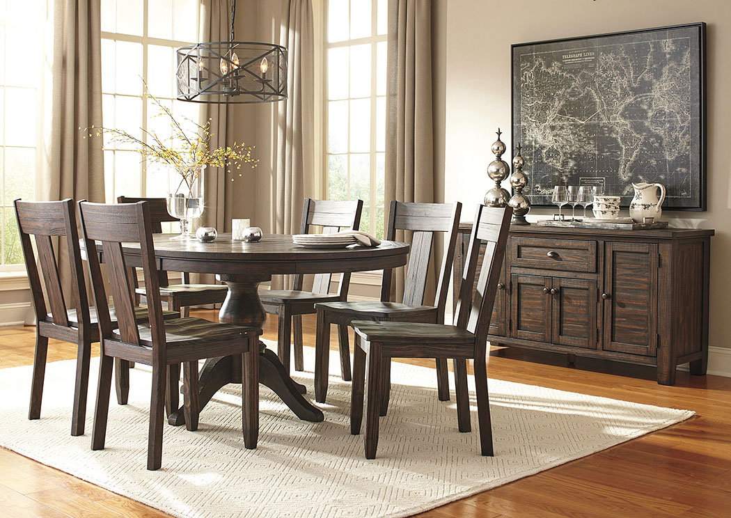 All Star Furniture Trudell Golden Brown Round Dining Room Extension