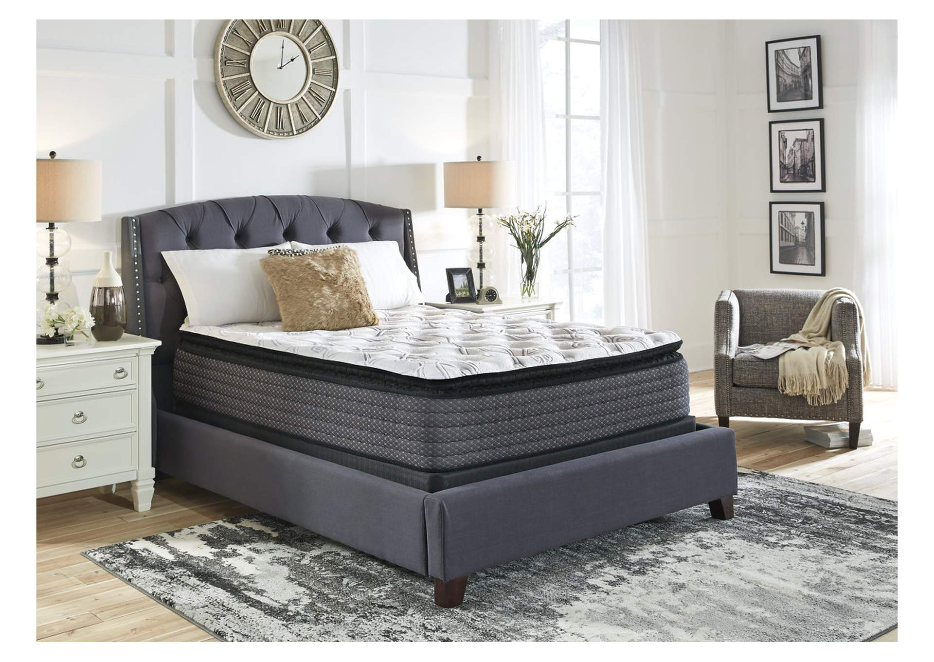 Limited Edition White Pillowtop Queen Mattress w/Foundation,Sierra Sleep by Ashley