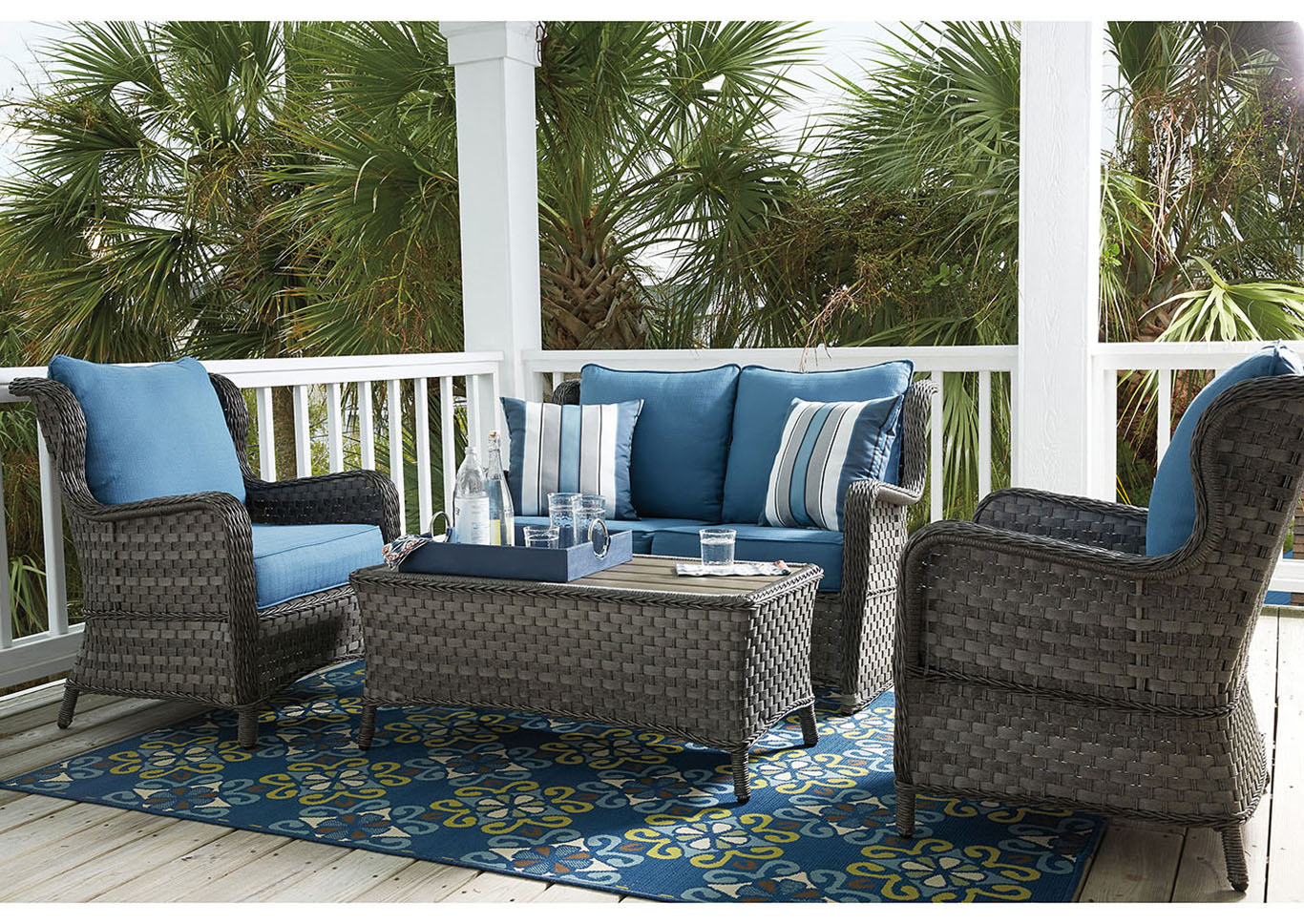 Abbots Court Blue/Gray 4 Piece Outdoor Set,Outdoor By Ashley