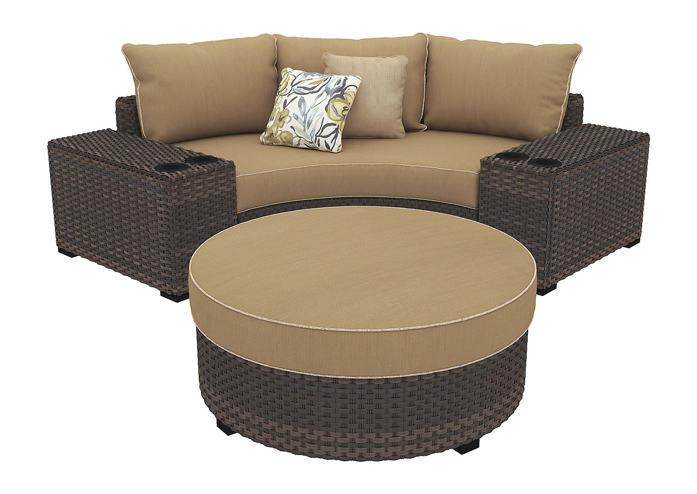 Spring Ridge Beige/Brown Curved Corner Chair w/Console & Ottoman,Outdoor By Ashley