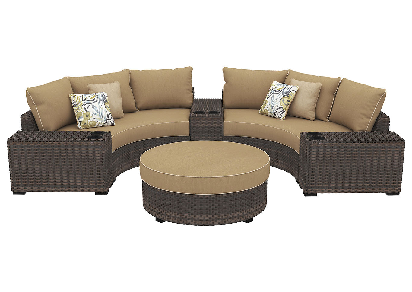 Spring Ridge Beige/Brown Sectional w/Consoles & Ottoman,Outdoor By Ashley