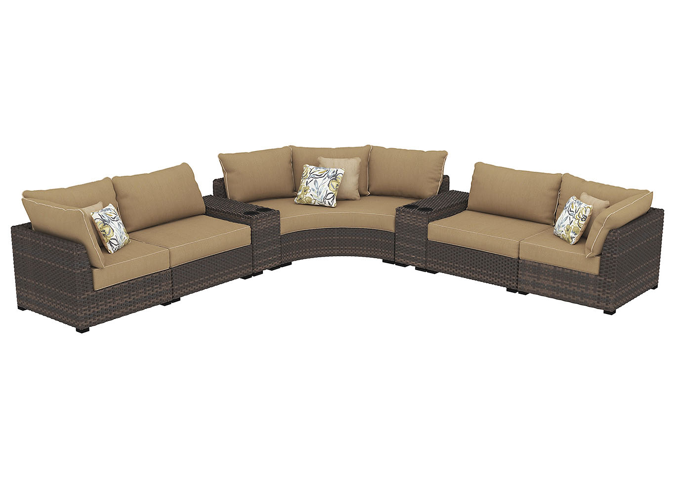Spring Ridge Beige/Brown Curved Sectional,Outdoor By Ashley