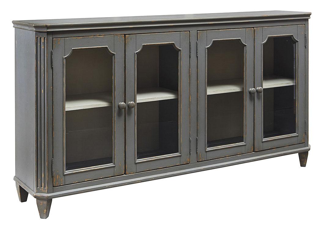 Mirimyn Antique Gray 4 Door Accent Cabinet - Shep's Discount Furniture - Jacksonville, FL Mirimyn Antique Gray 4