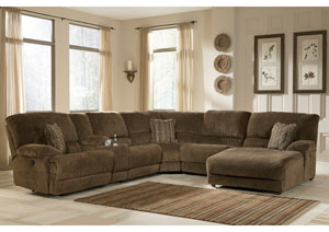 Pivot Point Truffle Right Facing Chaise Power Reclining Sectional