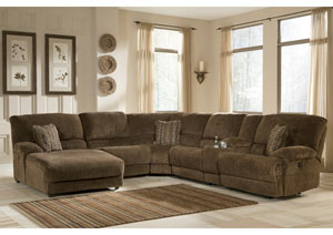 Pivot Point Truffle Left Facing Chaise Power Reclining Sectional