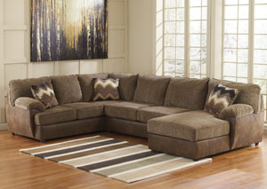 Cladio Hickory Right Arm Facing Chaise End Sectional