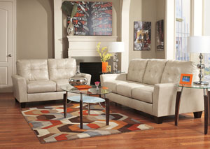 Paulie DuraBlend Taupe Sofa & Loveseat