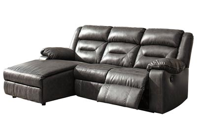 Coahoma Dark Gray 3 Piece LAF Chaise Sectional w/Power Recliner
