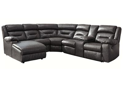 Coahoma Dark Gray LAF Chaise Sectional w/Console & Power Recliner