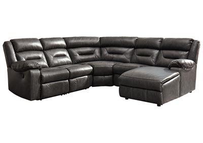 Coahoma Dark Gray RAF Chaise Sectional w/Power Recliner