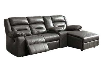 Coahoma Dark Gray RAF Chaise Sectional w/Console & Power Recliner