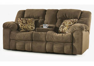 Macie Brown Double Reclining Loveseat w/ Console