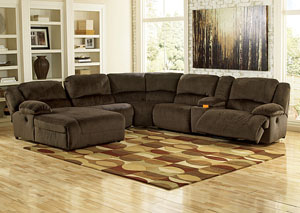 Toletta Chocolate Left Facing Chaise End Reclining Sectional w/ Storage Console