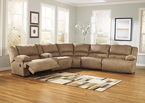 Hogan Mocha Reclining Sectional w/Console