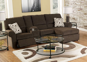 Cybertrack Chocolate Chaise Reclining Sectional