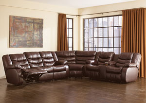 Revolution Burgundy Reclining Sectional