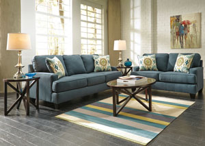 Brileigh Teal Sofa & Loveseat