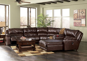 Braxton Java Right Facing Chaise End Extended Reclining Sectional