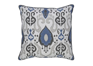 Damaria Blue/Ivory/Brown Pillow (4/CS)