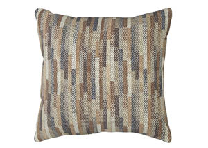 Daru Cream/Brown/Blue Pillow (4/CS)