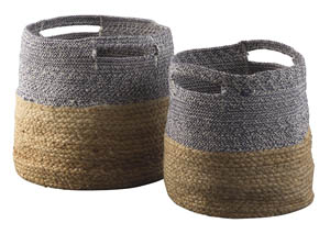 Parrish Natural/Blue Basket Set (Set of 2)
