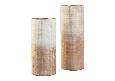 Dorotea Gold Finish/White Vase Set (Set of 2)
