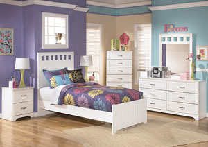Lulu Twin Panel Bed, Dresser, Mirror, Chest & Night Stand