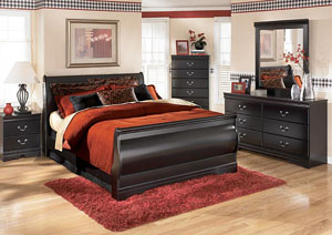 Huey Vineyard Queen Sleigh Bed, Dresser, Mirror, Chest & Night Stand