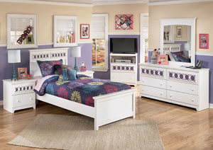 Zayley Twin Panel Bed, Dresser, Mirror & Chest