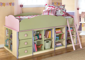 Doll House Twin Loft Bed, Dresser & Mirror