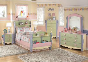 Doll House Twin Sleigh Bed, Dresser & Mirror