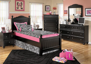 Jaidyn Twin Poster Bed, Dresser, Mirror, Chest & Nightstand