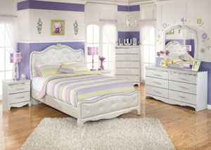 Zarollina Full Upholstered Bed, Dresser & Mirror