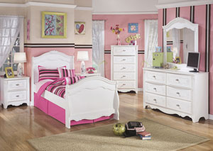 Exquisite Full Sleigh Bed, Dresser, Mirror, Chest & Night Stand