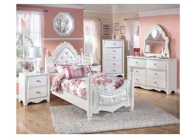 Exquisite Full Poster Bed w/Dresser & Mirror