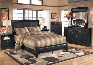 Harmony Queen Platform Bed, Dresser, Mirror & Chest