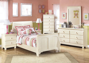 Cottage Retreat Twin Sleigh Bed, Dresser & Mirror