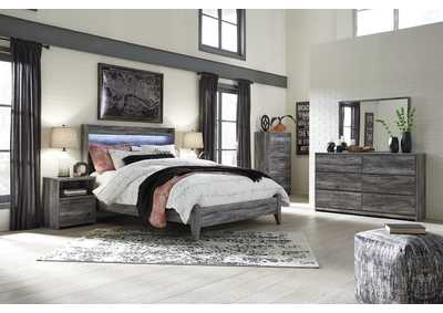 Baystorm Gray Queen Panel Bed w/Dresser, Mirror, Drawer Chest and Nightstand