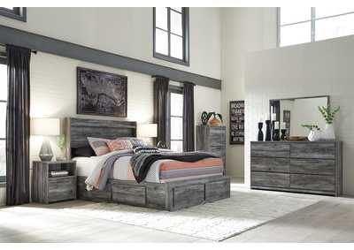 Baystorm Gray Queen Storage Bed w/Dresser, Mirror, Drawer Chest and Nightstand