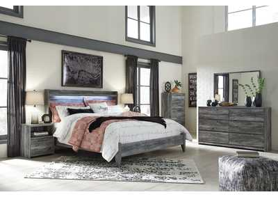 Baystorm Gray King Panel Bed w/Dresser, Mirror, Drawer Chest and Nightstand