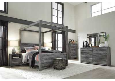 Baystorm Gray King Canopy Bed w/Dresser, Mirror, Drawer Chest and Nightstand