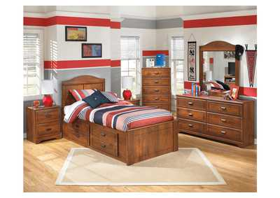 Barchan Twin Panel Storage Bed w/Dresser & Mirror