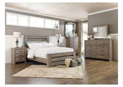 Zelen Queen Poster Bed, Dresser, Mirror, Chest & Night Stand