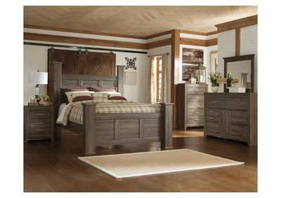 Juararo Queen Poster Bed, Dresser, Mirror, Chest & Night Stand
