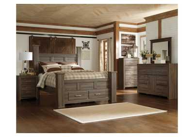 Juararo Queen Poster Storage Bed, Dresser & Mirror